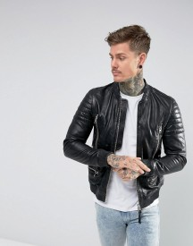 Allsaints Leather Biker Bomber Jacket afbeelding