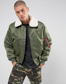 Alpha Industries B15 Faux Shearling Collar Bomber Jacket In Sage Green afbeelding