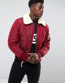Alpha Industries Bomber Jacket Shearling Collar In Burgundy afbeelding