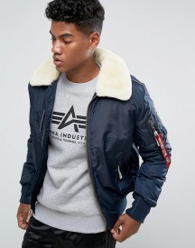 Alpha Industries Bomber Jacket Shearling Collar In Navy afbeelding