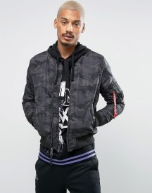 Alpha Industries Ma1-tt Bomber Jacket Slim Fit In Black Camo afbeelding