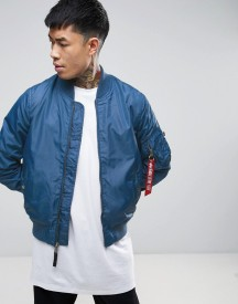 Alpha Industries Ma1-tt Bomber Jacket Slim Fit In Blue afbeelding