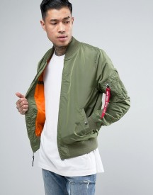 Alpha Industries Ma1-tt Bomber Jacket Slim Fit In Green afbeelding