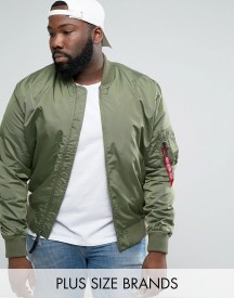 Alpha Industries Plus Ma1-tt Bomber Jacket Slim Fit In Green afbeelding