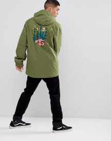 Analog Caldwell Overhead Ski Jacket Hooded Insulated Back Print In Green afbeelding