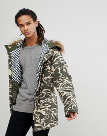 Analog Frazier Ski Parka Jacket Insulated Hooded Detachable Faux Fur Trim In Green Camo afbeelding