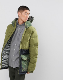 Analog Kilroy Ski Puffer Jacket Hooded Mixed Camo Print In Green afbeelding