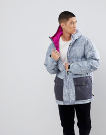 Analog Kilroy Ski Puffer Jacket Hooded Washed Denim Print In Blue afbeelding
