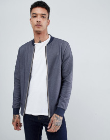 Aquascutum Humber Sweat Bomber Club Check Jacket In Navy afbeelding