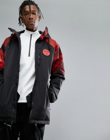 Armada Carson Insulated Ski Jacket Red Resin Print Hooded In Black afbeelding