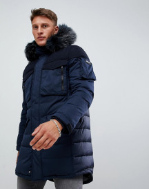 Armani Exchange Long Down Parka With Faux Fur Trim In Navy afbeelding