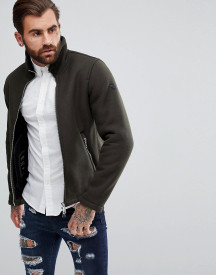 Armani Jeans Wool Mix Zip Through Jacket Green afbeelding
