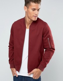 Asos Bomber Jacket In Burgundy With Ma1 Pocket afbeelding