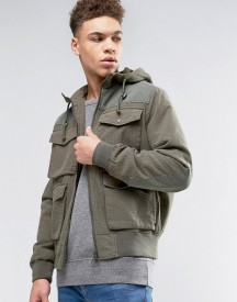 Asos Bomber Jacket In Ripstop With 4 Pockets Hood In Khaki afbeelding