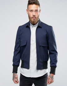 Asos Bomber Jacket With Collar In Navy afbeelding