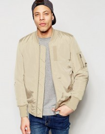 Asos Bomber Jacket With Ma1 Pocket In Stone afbeelding