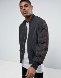 Asos Bomber Jacket With Mesh Sleeve In Black afbeelding