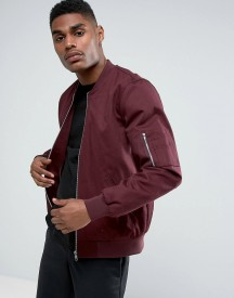 Asos Bomber Jacket With Sleeve Zip In Burgundy afbeelding