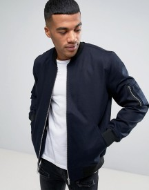 Asos Bomber Jacket With Sleeve Zip In Navy afbeelding