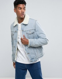 Asos Borg Lined Denim Jacket In Light Wash afbeelding