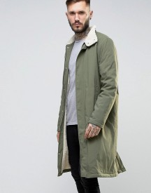 Asos Borg Lined Trench With Funnel Collar In Khaki afbeelding