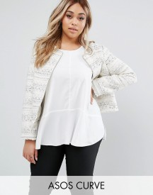 Asos Curve Boucle Jacket With Fringe Detail afbeelding