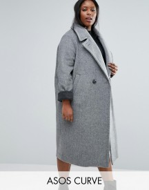 Asos Curve Coat In Cocoon Fit With Contrast Cuff afbeelding