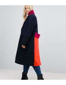 Asos Curve Coat In Colourblock afbeelding