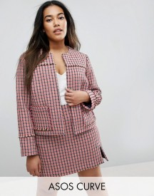 Asos Curve Crop Jacket In Mini Check Co-ord afbeelding