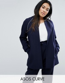 Asos Curve Longline Bomber Jacket With Piping Co-ord afbeelding