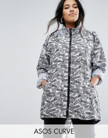 Asos Curve Pac-a-mac In Graphic Print afbeelding