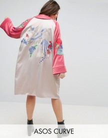Asos Curve Premium Kimono With Bird And Floral Embroidery afbeelding