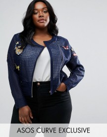 Asos Curve Premium Mesh Jacket With Badges afbeelding