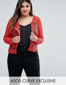 Asos Curve Premium Mixed Lace Panel Jacket In Red afbeelding