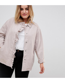 Asos Curve Shacket With Frill Detail afbeelding