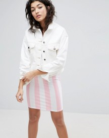 Asos Denim Cropped Boxy Jacket In White afbeelding