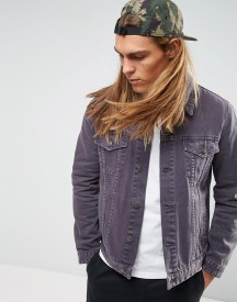 Asos Denim Jacket In Washed Purple afbeelding