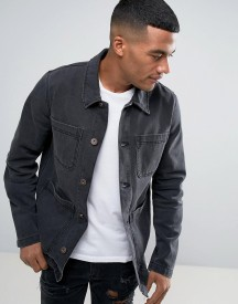 Asos Denim Worker Jacket In Washed Black afbeelding