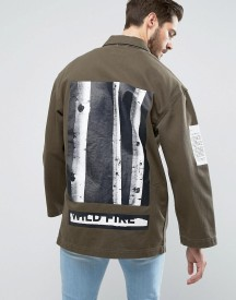 Asos Denim Worker Jacket With Print Detail In Khaki afbeelding