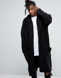 Asos Extreme Oversized Duster Coat In Black Borg afbeelding