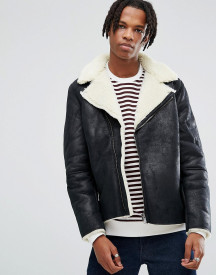 Asos Faux Shearling Biker Jacket In Black afbeelding