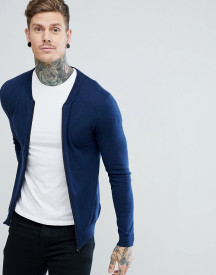 Asos Knitted Bomber In Navy afbeelding