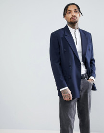 Asos Oversized Double Breasted Blazer In Navy afbeelding