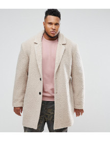 Asos Plus Relaxed Borg Overcoat In Ecru afbeelding