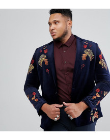 Asos Plus Skinny Blazer In Navy Velvet With Embroidery afbeelding