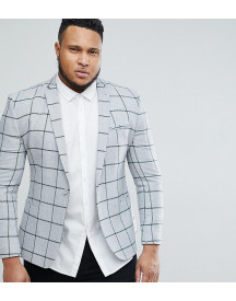 Asos Plus Super Skinny Blazer In Grey Wool Mix With Green Windowpane Check afbeelding