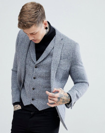 Asos Slim Blazer In Harris Tweed 100% Wool Light Grey Check afbeelding