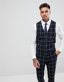 Asos Super Skinny Suit Waistcoat In Navy With White Windowpane Check afbeelding