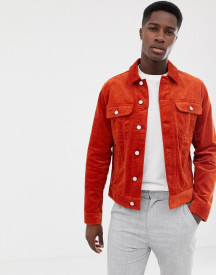 Asos Design Cord Jacket In Orange afbeelding