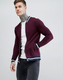 Asos Design Jersey Muscle Bomber Jacket In Burgundy With Striped Tipping afbeelding